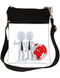 Snoogg Business People Standing In Front Of The Globe Business Concept Cross Body Tote Bag / Shoulder Sling Carry...