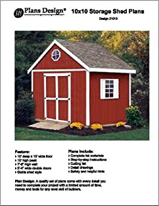 10' x 10' Gable Storage Shed Project Plans -Design #21010