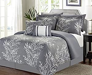 7 Piece Queen Comforter Bedding Set, Gray and White Floral Tree Printed Bed Set