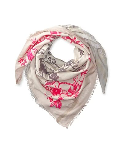 LEIGH & LUCA Women's Ombre Bird Square Scarf, Rose/Storm As You See