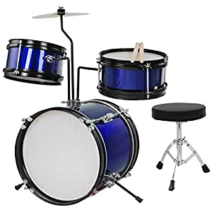 3pc 8 kids drum set with cymbal drum blue musical instruments. Black Bedroom Furniture Sets. Home Design Ideas