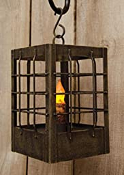 Candle Post Lantern Small - Battery Operated Timer Distressed Black Finish - Primitive Country Rustic Lighting