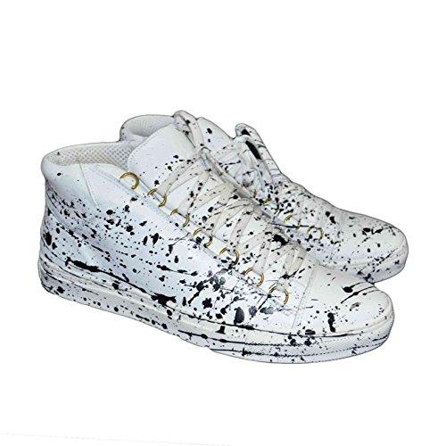 Snekaers uomo scarpe man vera pelle bianco astratto schizzi limited edition (41)