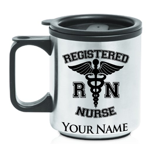 Personalized Staineless Steel Coffee Travel Mug - RN, REGISTERED NURSE - Laser engrave your name for free (Registered Nurse Coffee compare prices)