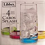 Libbey 4 Piece Glass Set 15.9 Oz Each Cabos Splash Multi-color Blue Purple Yellow Green
