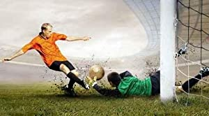 Leisure Wall Decals Shoot of Football Player and Jump of Goalkeeper on the Field of - 36 inches x 20 inches - Peel and Stick Removable Graphic