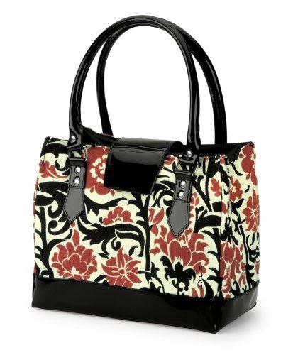 Koko Megan Lunch Bag, Black And Red Floral Linen