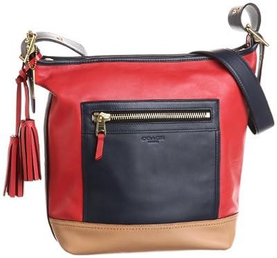 Coach Legacy Leather Colorblock Duffle Hobo Handbag 19995 Navy Blue Multi