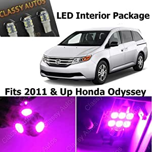 classy autos pink led lights interior package for honda odyssey 9 pieces automotive. Black Bedroom Furniture Sets. Home Design Ideas