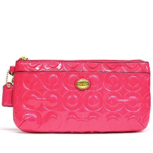 Coach   Coach Peyton Op Art Embosssed Patent Leather Large Wristlet Pink B4/f49883
