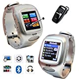 Unlocked Cell Phone Smart Watch With Pedometer / Speed / Distance / Kcal Silver Camera GSM Quad band GSM Watch Phone bluetooth bracelet By SVP (Silver)