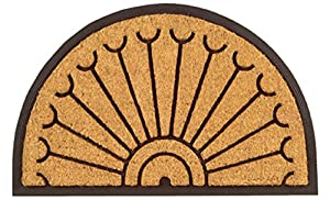 Imports Décor Half-Round Rubber Back Coir Doormat, 30-Inch by 48-Inch, Peacock