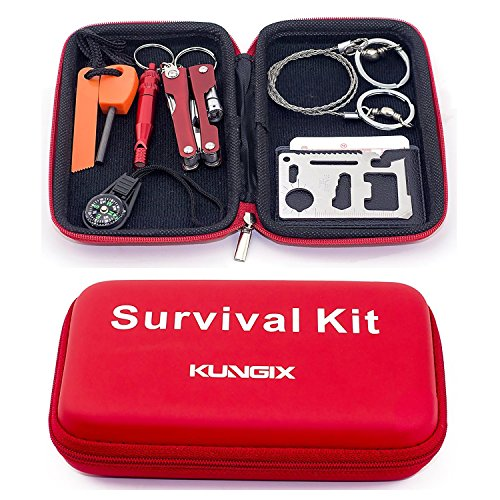 KUNGIX Survival Kit Emergency SOS Survive Tool Pack for Camping Hiking Hunting Biking Climbing Traveling and Emergency