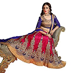 AV Trendz Women'S Pink Net And Embroiderd Lehenga Choli Semi Stitched Material