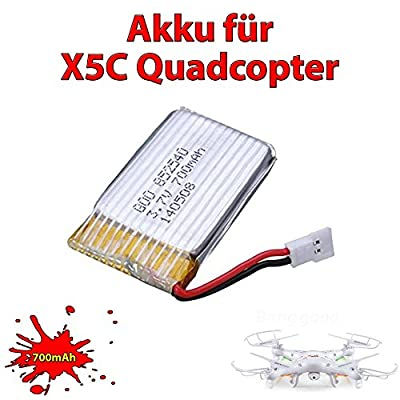 3x Upgrade 700mAh LiPo Power original Ersatzakku Akku für X5C X5SC X5SW Quadrocopter von Syma inkl. Mehrfachladekabel und Netzladegerät