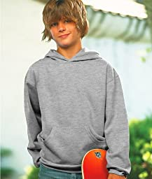 LAT Apparel Youth Fleece Hooded Pullover Sweatshirt with Pouch Pocket, Heather, Large