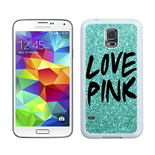 Diy TPU Phone Case for Samsung Galaxy S5 Green Glitter Love Pink Durable Soft Rubber Silicone S5 White Cover