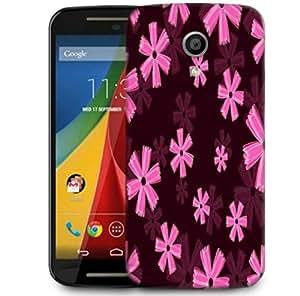 Snoogg Pink Floral Marron Pattern Designer Protective Phone Back Case Cover For Motorola G 2nd Genration / Moto G 2nd Gen