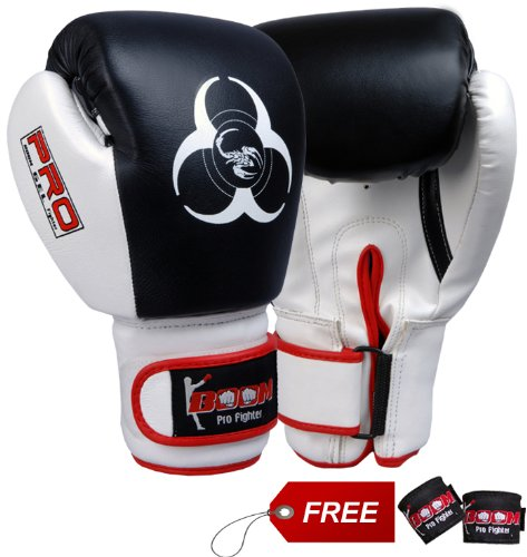 BOOM Pro Cow Hide Leather Boxing Glove,Sparring,Bag Gloves,MMA,Kick boxing,UFC (16oz)