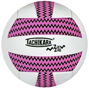 Tachikara Sof-Tec ZIGZAG Indoor/Outdoor Volleyball (Pink/White)