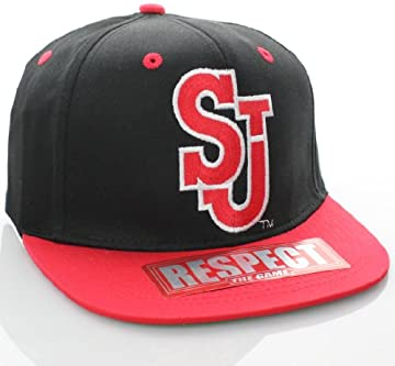 St. John's Red Storm NCAA Flat Bill Logo Snapback Hat Cap Black Red
