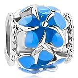 CharmSStory Filigree Orchid Flower Love Enamel Charm Beads Charms For Bracelets (Blue)