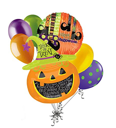 7 Pc Witch Hat Jack O Lantern Balloon Bouquet Party Decoration Happy Halloween