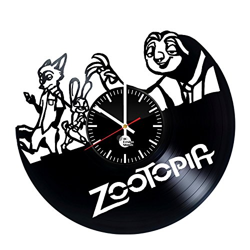 Zootopia-Handmade-Vinyl-Record-Wall-Clock-Fun-gift-Vintage-Unique-Home-decor-Art-Design-Retro-Interier