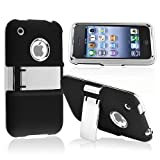 eForCity Snap-on Case compatible with Apple® iPhone® 3G / 3GS , Black with Chrome Stand