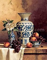 22W x 28H Blue & White Oriental Still Life with Peaches & Grapes by Loran Speck - Stretched Canvas w/ BRUSHSTROKES
