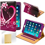 32nd® Design book wallet PU leather case cover for iPad Mini (original and iPad Mini 2 with retina display) + screen protector and cloth - Love Heart