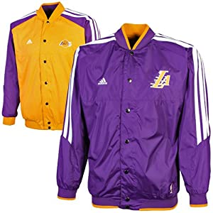 NBA adidas Los Angeles Lakers Youth On Court Reversible Warmup Jacket - Gold Purple by adidas