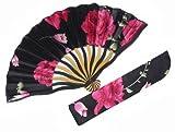 扇子 収納袋付 普段着・浴衣・着物に カジュアル・エレガント 花柄 21(ブラック/レッドローズ)