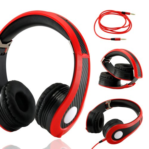 Gearonic Tm Carbon Fiber Print Adjustable Circumaural Over-Ear Earphone Stero Headphone 3.5Mm For Ipod Mp3 Mp4 Pc Iphone Music - Black And Red