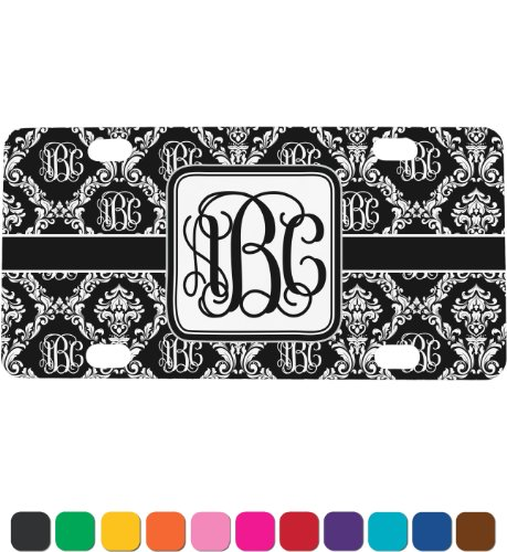 Monogrammed Damask Personalized Mini License Plate front-1017200