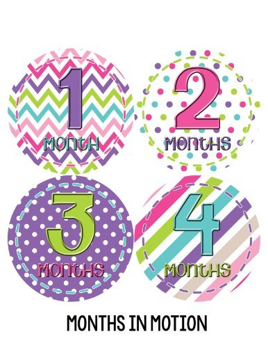 Months in Motion 277 Baby Month Stickers for Newborn Girl Purple Green Pink