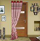 "Story@Home Eyelet Fancy Jacquard 1 Piece Door Ringtop Curtain Set- 46 "" X 84 "", 7 feet, Red"