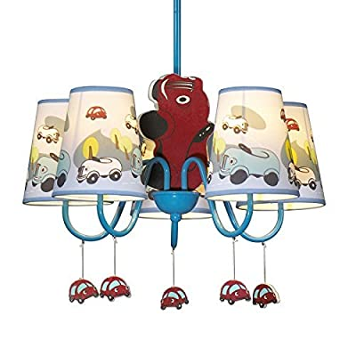 CHXDD Boys Cartoon Car Bedroom Chandelier Lamp Mediterranean Kid's Room Pendent Lights Children Pendant Light