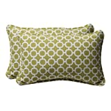 Pillow Perfect Decorative Green/White Geometric Rectangle Toss Pillows, 2-Pack