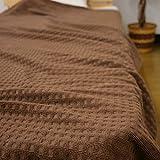 タオルケット コットン100% ダブルサイズ180×200cm 綿100% ワッフル調 (ダブル, ブラウン)