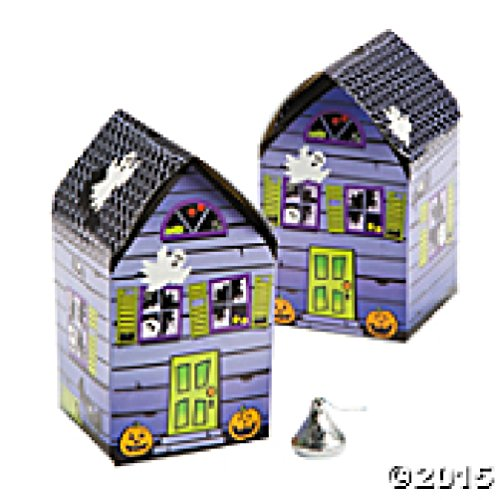 Set of 12 Haunted House Shaped Favor Boxes with Ghosts Bats Spiders and Webs! - 1