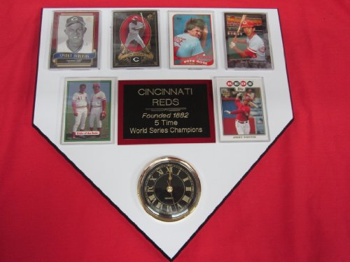 Cincinnati Reds World Champions 6 Card Collector Home Plate Clock Plaque Exclusive Design To Amazon! back-393107