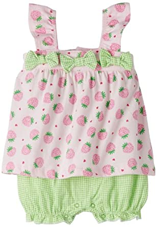 Absorba Baby-Girls Newborn Strawberry Creeper, Pink/Green, 3-6 Months