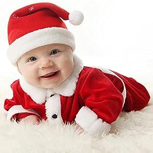 Highdas Costumes Baby's Baby Boys Girls Velvet Santa Costume Kids Santa Romper outfit and Hat