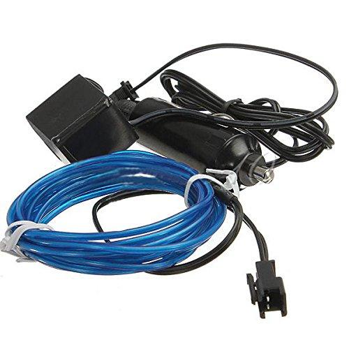 TOOGOO (R) 2M flessibile di EL Wire Neon del partito della luce dell'automobile LED del tubo della fune + Inverter 12V - Blu
