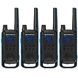 Motorola T800 Talkabout Two-Way Radios - Black/Blue (4 Pack) (Tamaño: 4-Pack)