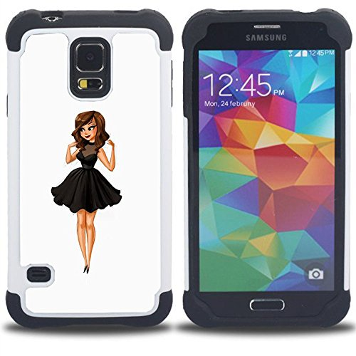 SAMSUNG Galaxy S5 V / i9600 / SM-G900 - 3 in 1 Colorful Heavy Duty Stampato in PC Soft silicone nero della copertura gel della cassa Jacket (Moda para niños Señora Dulce Mujer Linda)