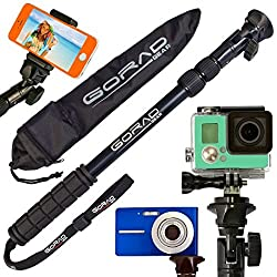 GoRad Gear Selfie Stick for iPhone 6 & 5, Android, and GoPro Hero Cameras - Waterproof with NO BLUETOOTH - Extends 16-36 Inches - Aluminum Tripod Mount and Thumb Screw - Nylon Carry Bag (black)