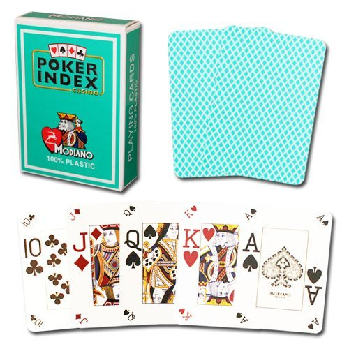 Modiano Poker Index 100% Plastic Playing Cards (Green)