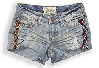 (GR8089) Dollhouse La Vie Boheme Denim Cut Off Short Shorts with Crochet Detail in Cyber Size: 13